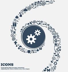 Cog settings cogwheel gear mechanism icon sign in vector