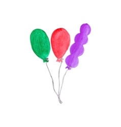 Colorful air baloons watercolor object on the vector
