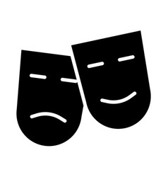 Comedy and tragedy theatre masks silhouette icon vector