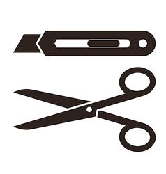 Cutter knife and scissors symbol vector
