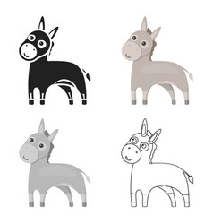 donkey icon cartoon singe animal icon from the vector image