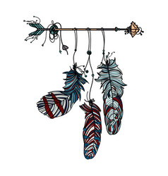 dreamcatcher with ethnic arrow and feathers vector image