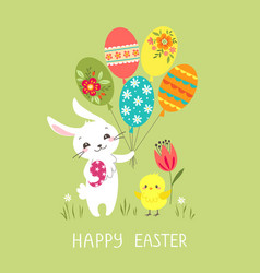 easter bunny with balloons vector image