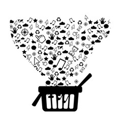 figure market basket with technological icon vector image vector image