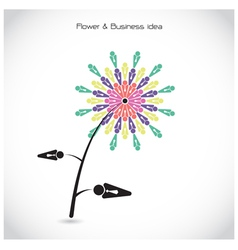 Flower and business teamwork cooperation sign vector