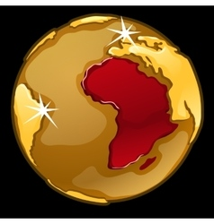 Golden globe with marked of africa countries vector