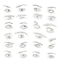 Hand drawn Eyes set vector image vector image