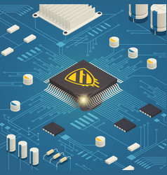 Hardware bug isometric composition vector
