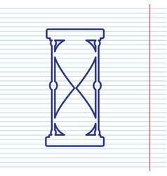 Hourglass sign navy line vector