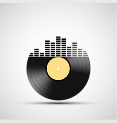 Icon vinyl record with a sound equalizer vector