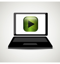 Laptop player music online digital vector