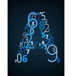 Letter A font from numbers vector image