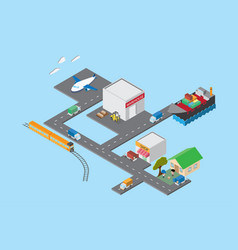 Logistics and transportation isometric view vector