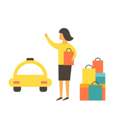 man after shopping waiting for a taxi vector image vector image