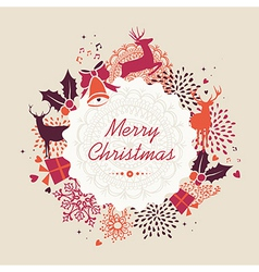 Merry Christmas label retro composition file vector image