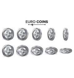 Money euro 3d silver coins set realistic vector