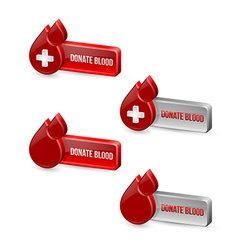 Red blood medical icons with buttons vector image