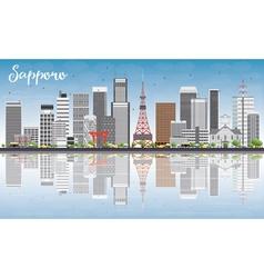 Sapporo skyline with gray buildings vector