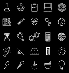 Science line icons on black background vector image
