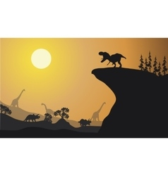 Silhouette of brachiosaurus and ankylosaurus vector