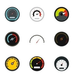 Speed measurement icons set flat style vector