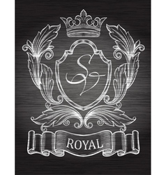 Vintage emblem with ribbon and crown vector image