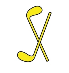 Yellow golf bats front view graphic vector