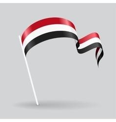 Yemeni wavy flag vector image vector image