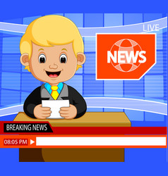 Young news anchor man reporting breaking news vector