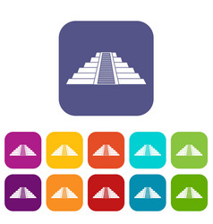 Ziggurat in chichen itza icons set flat vector