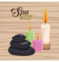 spa beauty and health three candles and stone vector image
