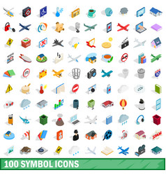100 symbol icons set isometric 3d style vector image