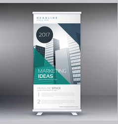 Modern roll up stand banner template vector