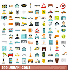 100 urban icons set flat style vector
