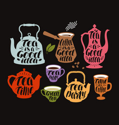 Drink tea coffee label set collection vector