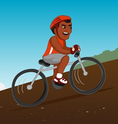 Black bicyclist riding vector