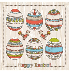 Background with easter eggs on grunge background vector