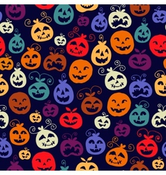 Traditional Halloween carved smiling pumpkins vector image