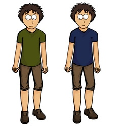 Boy in shorts design drawing emotion vector