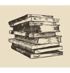 Pile stack of old books vintage hand drawn vector image