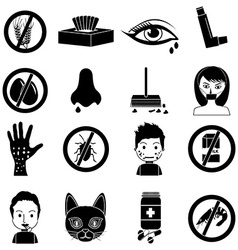 Allergies icons set vector