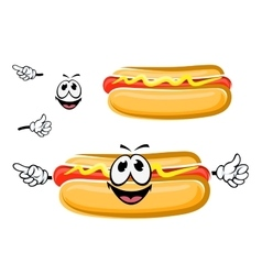 Hot dog sandwich cartoon character vector