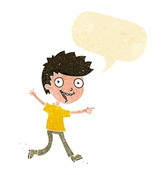 Cartoon crazy excited boy with speech bubble vector
