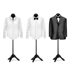 Black suit and white shirt vector