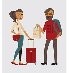 Couple traveling with hand baggage vector