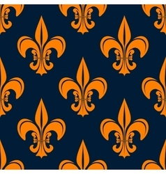 Orange vintage fleur-de-lis seamless pattern vector