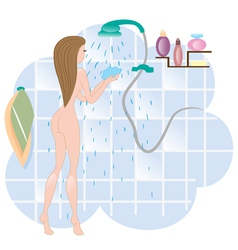 Girl in shower vector