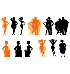 Dieting silhouettes vector