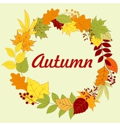 Autumnal frame with colorful leaves and herbs vector