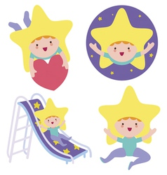 Baby star characters set vector image